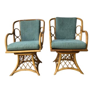 Mid Century Modern Rattan Swivel Chairs- A Pair For Sale