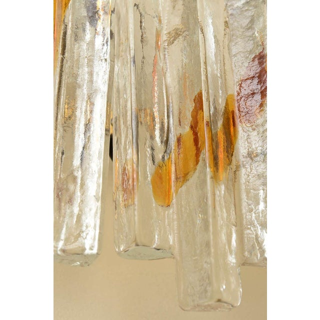 "Pair of Venini Murano Glass Mazzega Sculptural ""Staggered"" Pendant Sconces - Image 10 of 10"