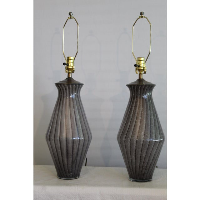 Mid 20th Century Vintage Modern Tapered Striped Murano Table Lamps - a Pair For Sale - Image 5 of 10