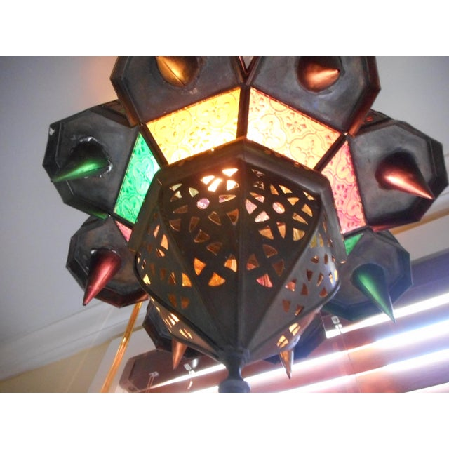 Green Vintage Moroccan Lighting Fixture For Sale - Image 8 of 9