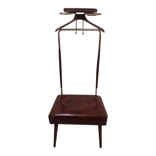 Mid-Century Coat Stand With Stool For Sale