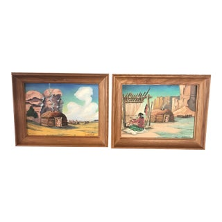 Paintings of Native American, 1960s - A Pair