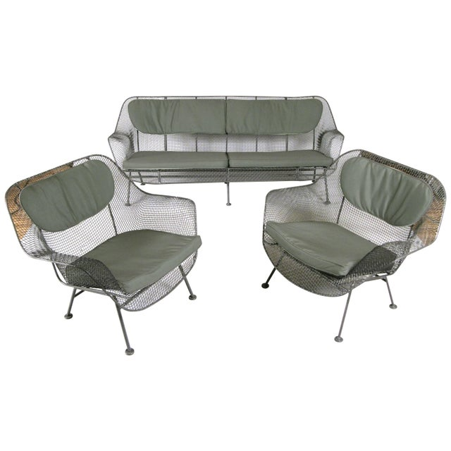 Metal 1950s Russell Woodard Sculptura Sofa and Pair of Lounge Chairs- 3 Pieces For Sale - Image 7 of 7