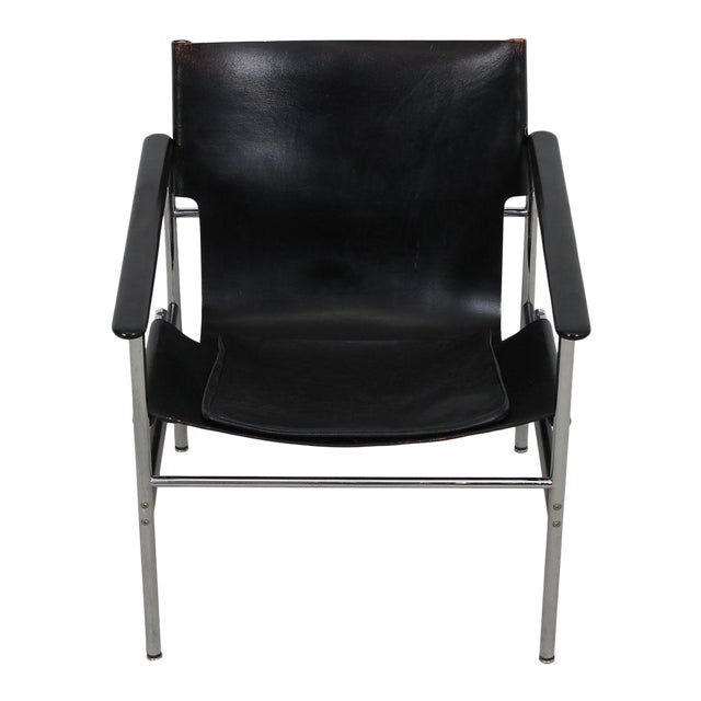 Leather & Chrome Sling Chair, #657, by Charles Pollack for Knoll For Sale