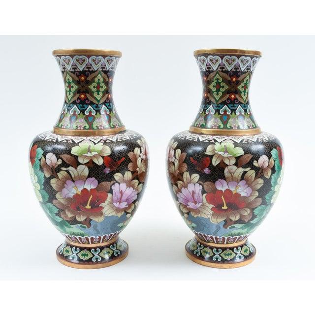 Mid-20th Century Colorful Cloisonné Decorative Vases - a Pair For Sale - Image 12 of 13