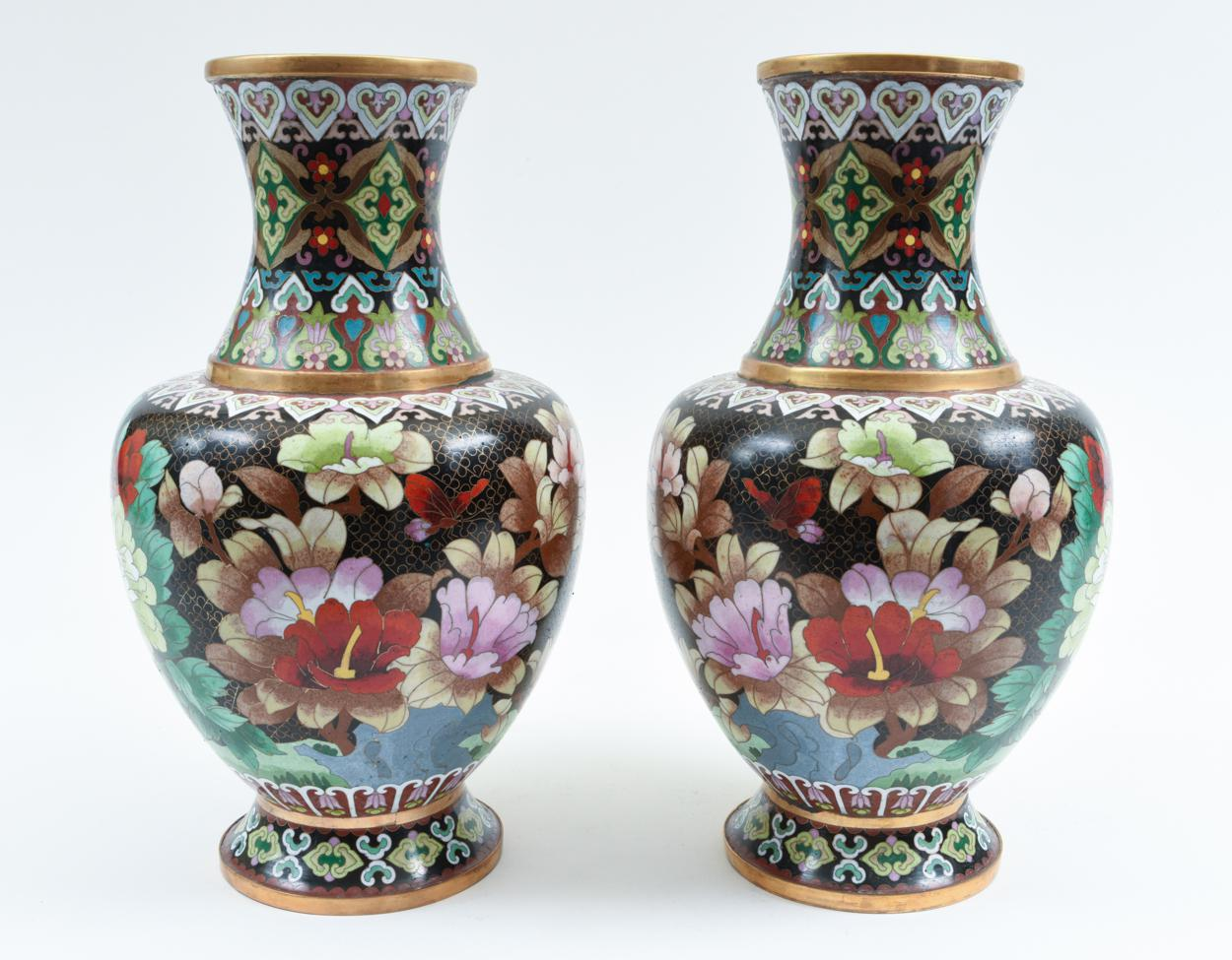 Mid 20th Century Colorful Cloisonné Decorative Vases   A Pair