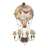 Image of Vintage Italian Tole Metal Hot Air Balloon Chandelier