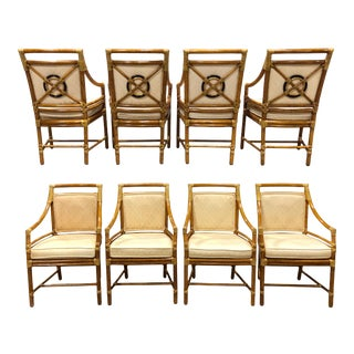 Vintage McGuire Target Back Dining Chairs - Set of 8 For Sale