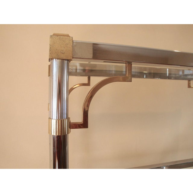 Mid-Century Chinoiserie Chrome, Brass & Glass Etagere Shelf For Sale In Richmond - Image 6 of 7