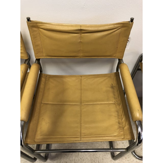 Bauhaus Mustard Leather Arm Chairs - Set of 4 - Image 7 of 7