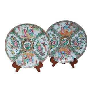 Rose Medallion Porcelain Dinner Plates - a Pair For Sale