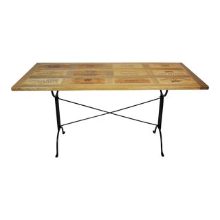 Reclaimed Wine Crate Solid Wood Bistro Dining Table For Sale