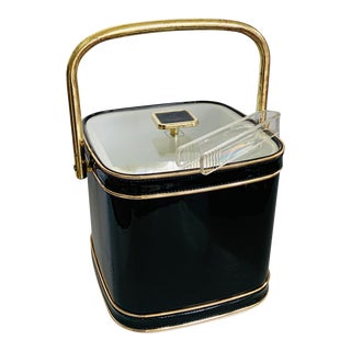 Glossy Black Mid Century Cubic Ice Bucket With Tongs For Sale