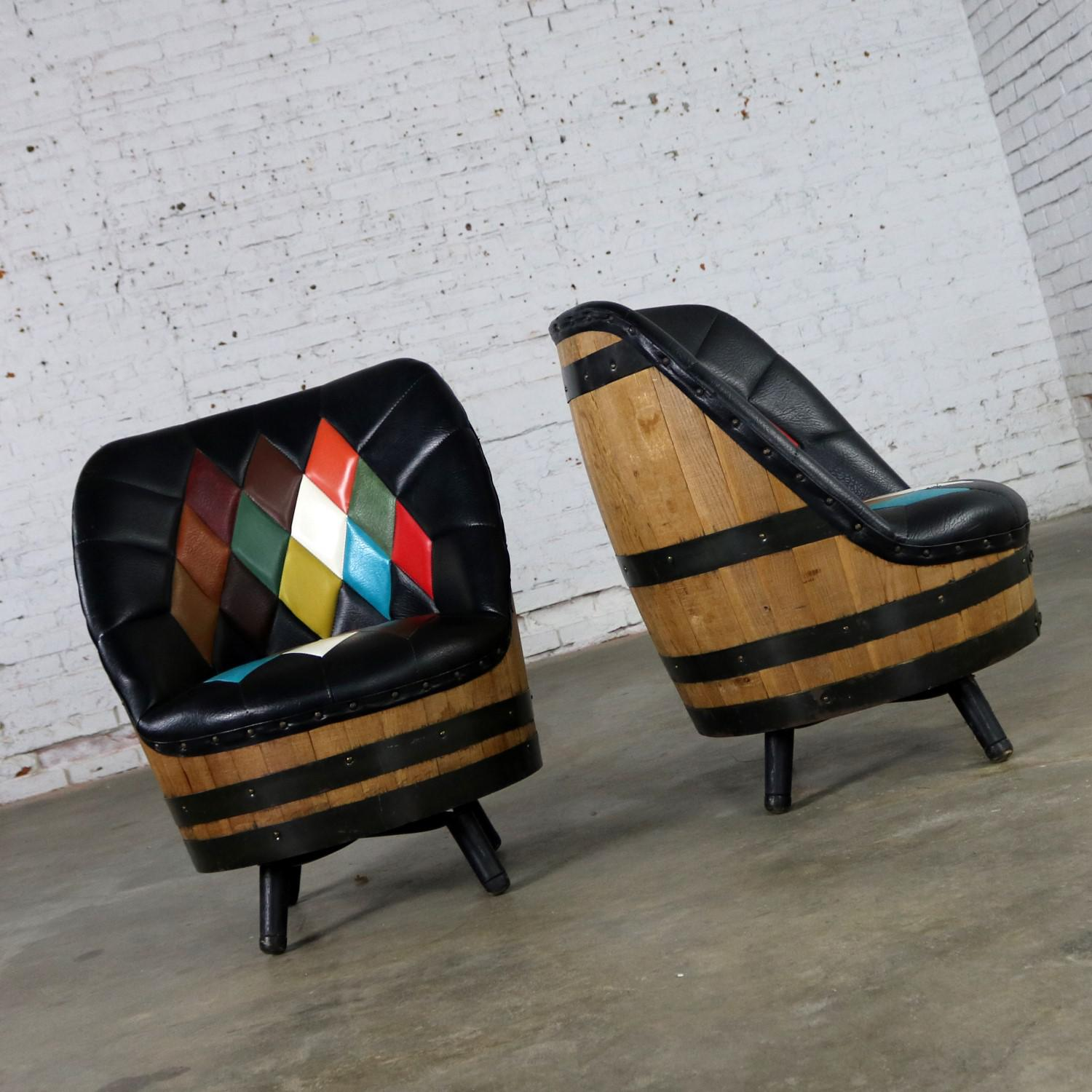 Mid Century Whiskey Barrel Swivel Barrel Chairs By Brothers Of
