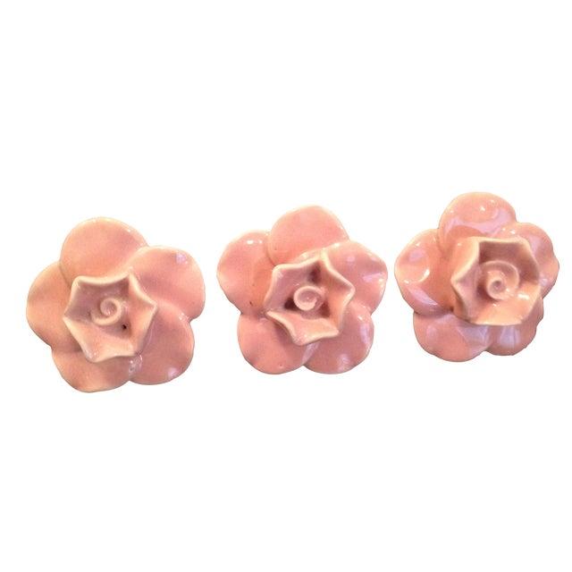 Ceramic Pink Rose Knobs - Set of 3 - Image 1 of 7