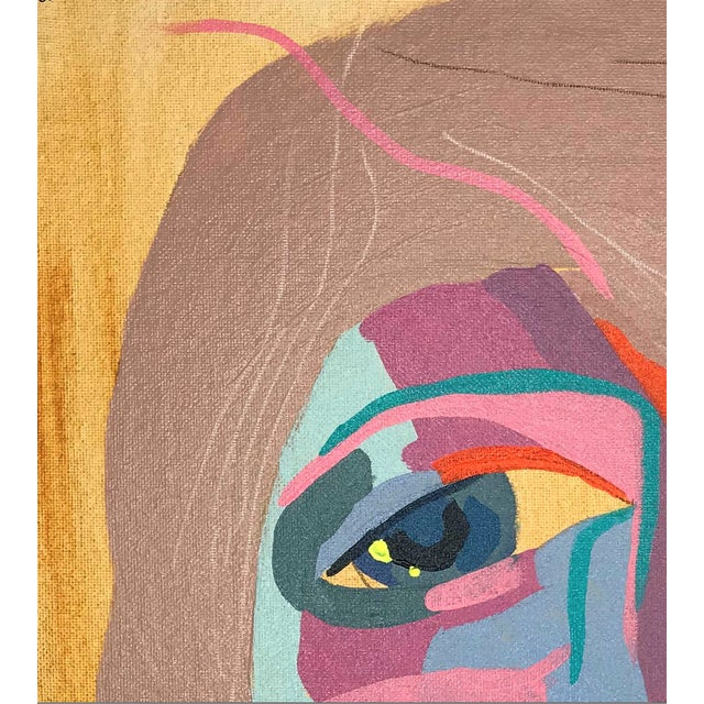 """Crayon Contemporary Abstract Portrait Painting """"Let's Go Together, No. 3"""" - Framed For Sale - Image 7 of 9"""