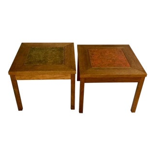 1960s Mid-Century Modern John Keal for Brown Saltman Walnut End Tables - a Pair