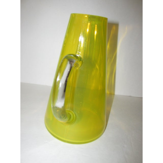 Mid-Century Yellow Glass Pitcher For Sale - Image 4 of 9