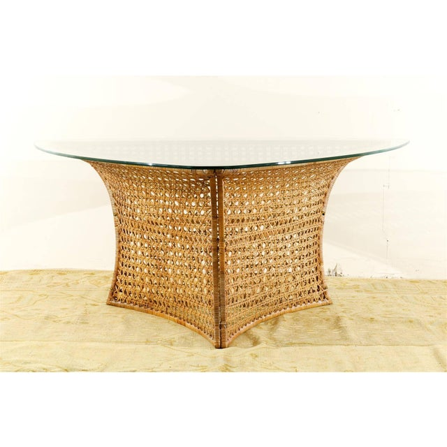 "An absolutely out of sight vintage rattan ""Guitar Pick"" dining or game table by the wildly creative Danny Ho Fong for..."