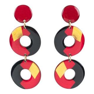 Italian Pop Art Dangling Lucite Clip-On Earrings Black Red Gold Donut For Sale