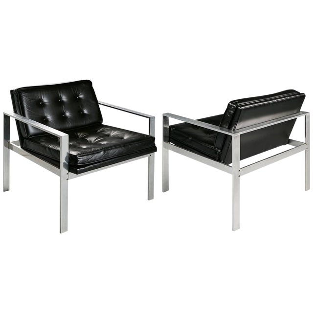 1960s Harvey Probber Aluminum and Black Tufted Leather Armchairs - a Pair For Sale