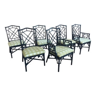 Set of Six Bamboo Chinoiserie Dining Chairs in High Gloss Navy For Sale