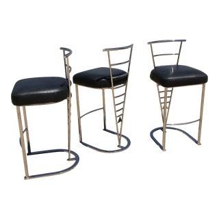 Design Institute of America Postmodern Black Leather Barstools - Set of 3 For Sale