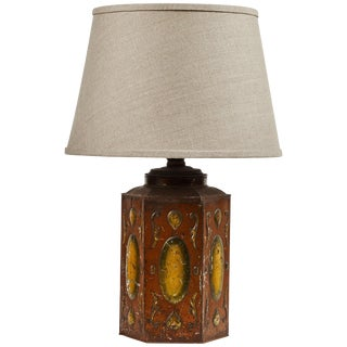 Late 19th Century Tole Decorated Tin Lamp With Custom Shade For Sale