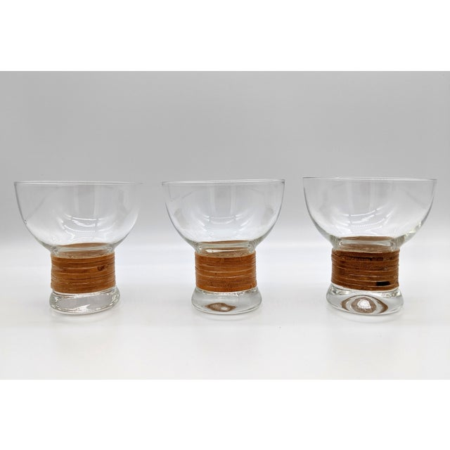 Mid Century Glass and Rattan Bar Service - Set of 10 For Sale - Image 11 of 12