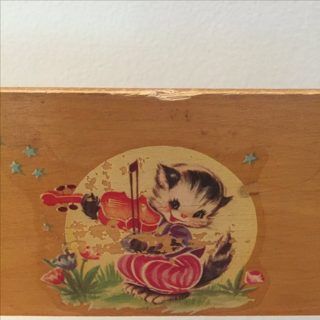Wood Doll High Chair with Cat Motif For Sale - Image 9 of 11