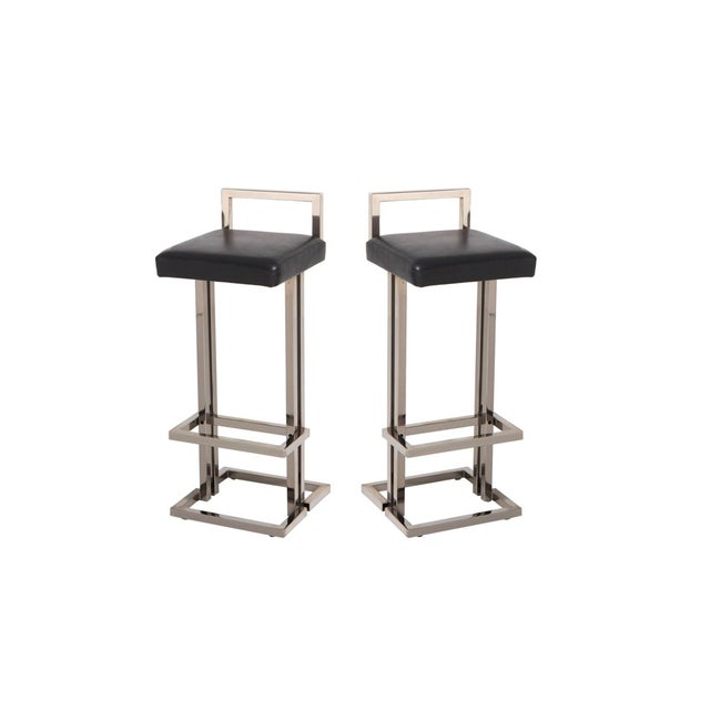 Maison Jansen Chrome and Black Leather Bar Stools For Sale - Image 9 of 9