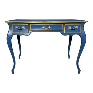 Vintage French Blue Writing Desk Three Drawers For Sale