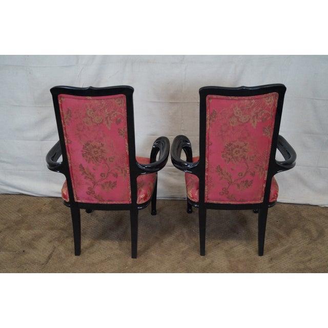 Ebonized Art Nouveau Style Arm Chairs - Pair - Image 9 of 10