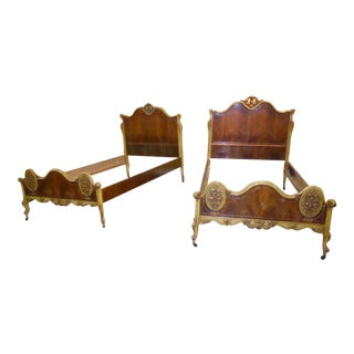 Vintage French Provincial Rococo Ornately Carved Gold Twin Headboard Beds - a Pair For Sale