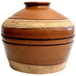Large Antique Brown Jar With Black Rings, Handmade Chinese Pottery For Sale