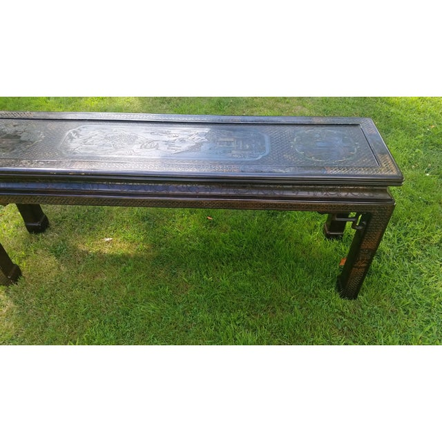 John Widdicomb Asian Carved Console Table For Sale In Cleveland - Image 6 of 10