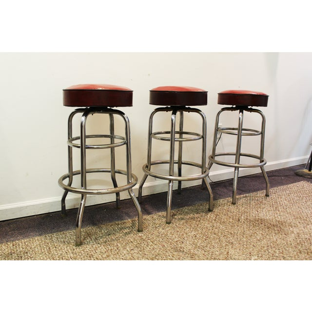 Mid Century Modern Swivel Bar Stools -- Set of 3 - Image 4 of 11