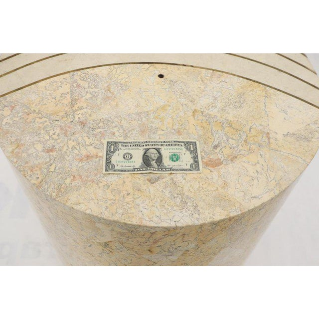 Attributed to Maintland-Smith Mid-Century Modern tessellated stone round dining table base pedestal.