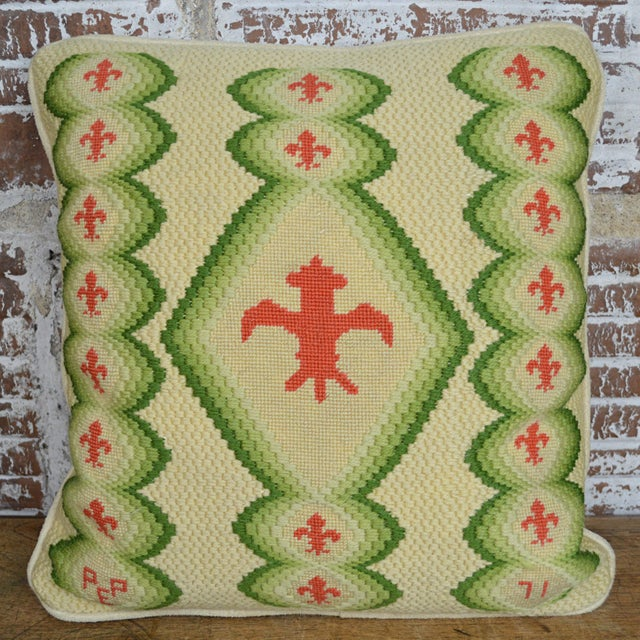 1970s Vintage Fleur De Lis Needlepoint Throw Pillow For Sale - Image 5 of 5