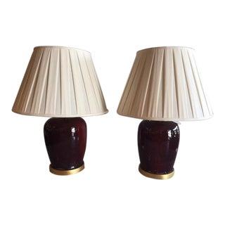 Sang De Boeuf Porcelain Ginger Jar Lamps - A Pair