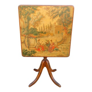 Antique Victorian Hand Painted Tilt Top Tea Table For Sale