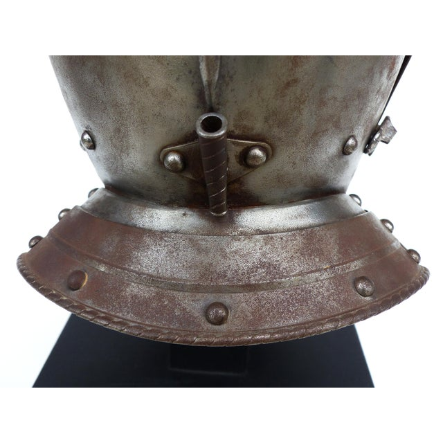 Gray Antique Steel Jousting Presentation Helmut From Ibm Ceo Jacques Maisonrouge For Sale - Image 8 of 13