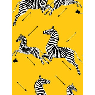 Sample, Scalamandre Zebras, Yellow Wallpaper For Sale