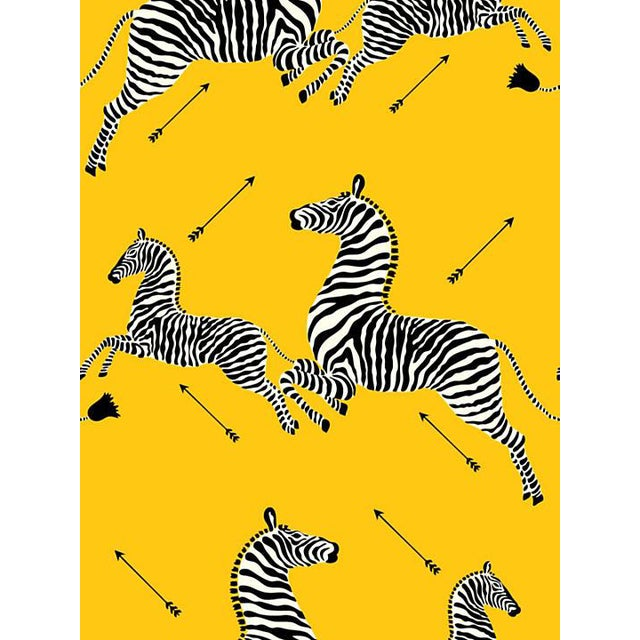 Sample, Scalamandre Zebras, Yellow Wallpaper For Sale