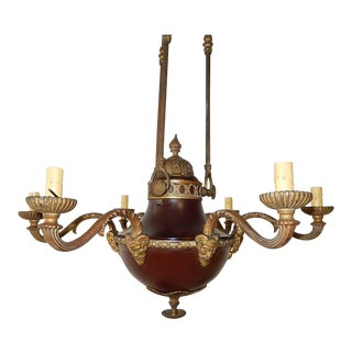 1900's French Red Empire Period Bronze Figural Face Horns Chandelier For Sale