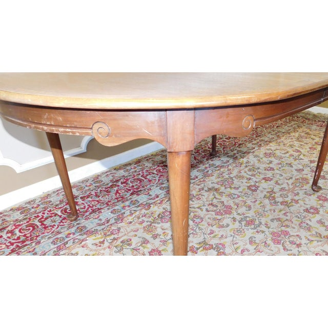 1980s Banded Walnut & Elm Dining Room Table W/ 2 Leaves For Sale - Image 4 of 10