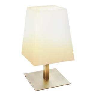 Contardi Quadra Table Lamp in Satin Bronze W/ Cotton Shade For Sale