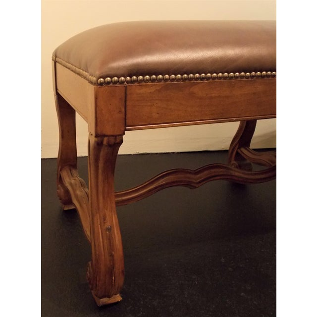 Wood and Leather Bench - Image 5 of 8