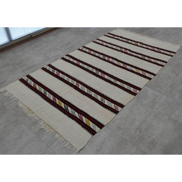 Vintage Natural Stripe Turkish Cotton Kilim Rug - 4′3″ × 8′ - Image 4 of 9