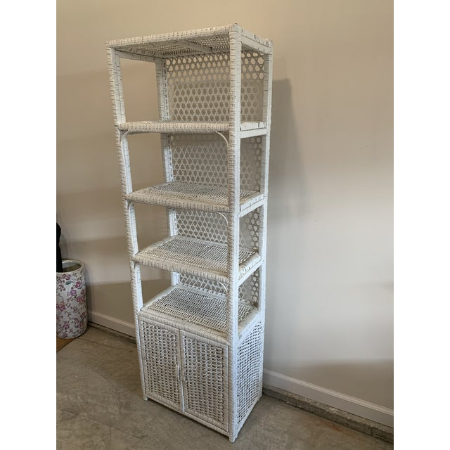 Rustic Vintage Tall Rustic White Wicker Rattan Cabinet Shelf With Bottom Dual Magnetic Stay Shut Doors For Sale - Image 3 of 8